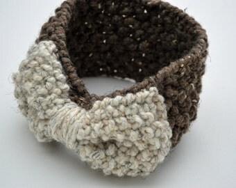 Large bow infinity ear warmer - knit bow ear warmer - knit headband - Bow accessories - Barley / wheat - gift under 50
