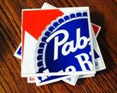 Beer Coaster Set: 4 PBR Recycled Case Coaster Set