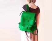 Backpack Green Felt Unisex Travel Rucksack