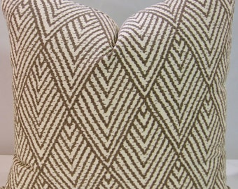 Quick Ship ~ BOTH SIDES 20 x 20 pillow cover Lacefield Tahitian Stitch Tusk brown taupe cream diamond Ready to Mail fast