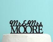 Personalized Wedding Cake Topper - Monogram Initials Cake Topper - Unique Custom Last Name Wedding Cake Topper - Peachwik Cake Topper - PT8