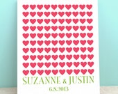 Wedding Guest Book Canvas- The Lovewik - A Peachwik Personalized Canvas - 100 guest sign in - Classic Hearts Wedding Guestbook