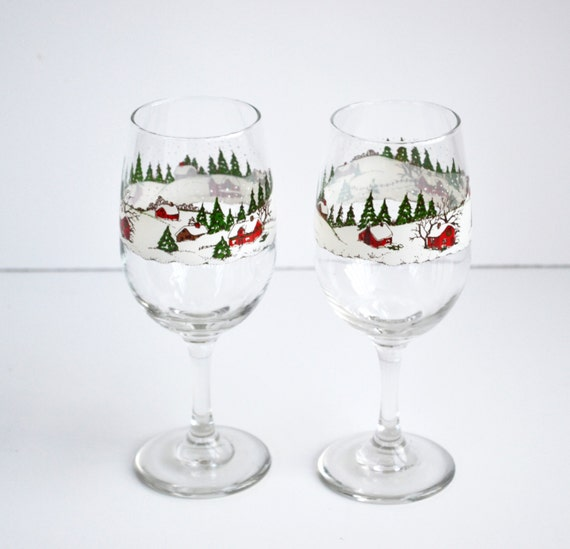 Vintage christmas wine glasses libby set of stemmed winter