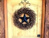 Winter Wreath-Rustic Americana Wreath-Star Wreath-Primitive Door Wreath-LARGE BLACK & TAN Barn Star Wreath-Rustic Primitive Country Decor