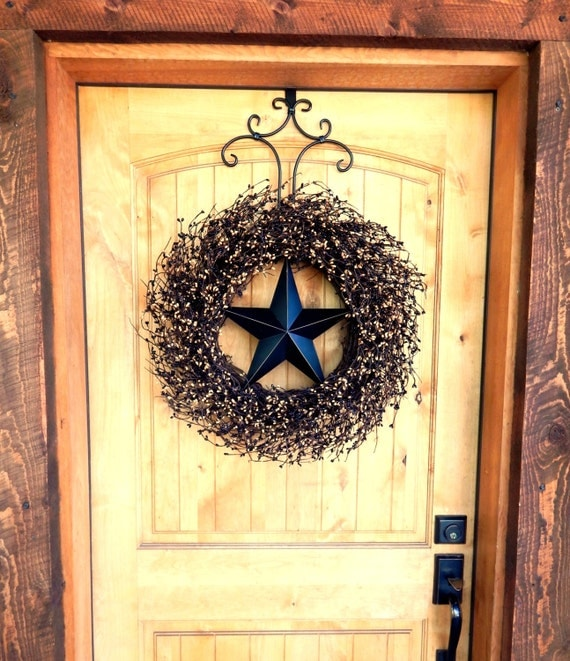 Primitive rustic wreath rustic americana wreath star for Country star decorations home