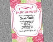 Crysanthemum Flower Baby Shower Invitation PRINTABLE INVITATION Pink and Green Design