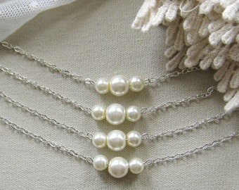 SET of 8 bridesmaid pearl necklace, bridesmaid necklaces, bridesmaids gift wedding jewelry white ivory pearl custom color W006
