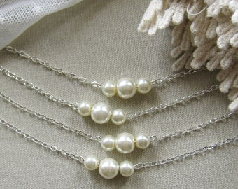 SET of 5 bridesmaid pearl necklace, bridesmaid necklaces, bridesmaids gift wedding jewelry white ivory pearl custom color W006