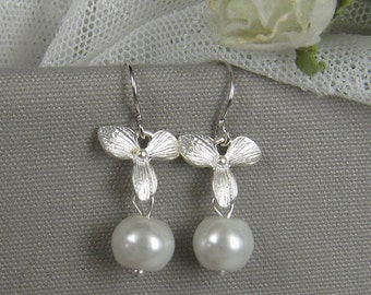 Orchid flower pearl earring, wedding jewelry (EP012) (Choose your colours)
