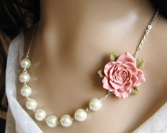 Rose pearl necklace, bridal, bridesmaids necklace, wedding jewelry - F012 (Choose your pearl colour)
