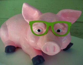 pink pig sporting green glasses - upcycled ceramic pig