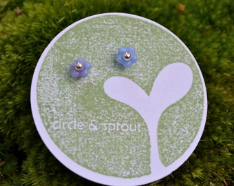 READY TO SHIP Tiny Glass Periwinkle Flower Bead and Sterling Ball Post Earring