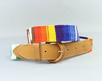 SALE Southwest Belt / Guatemala Colorful Textile Belt / Vintage Belt