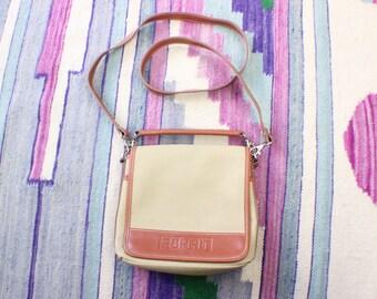 Vintage Cross Body Bag / Preppy Handbag / Women's Two Strap Purse