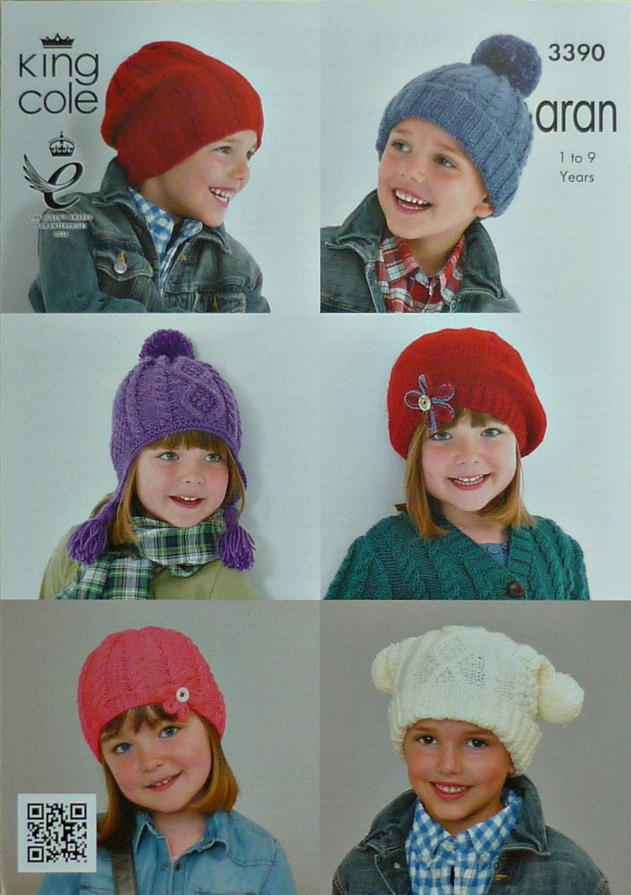 Girls Hats Knitting Pattern K3390 Childrens Tea Bag Slouchy Earflap Cable Hat...