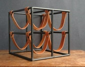RESERVED Arthur Umanoff Leather And Iron Wine Rack For Raymor - Mid Century Modern Architectural Wine Rack