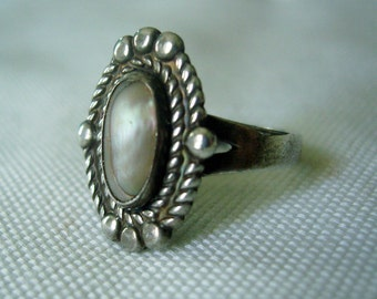 Vintage Sterling and Mother of Pearl Southwestern Ring Bell Trading Post