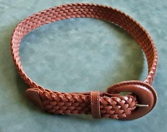 Vintage Braided Leather Belt Caramel Color Vintage 80s Medium Made in Argentina