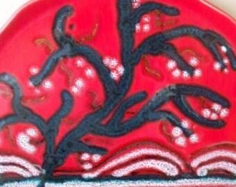 Longwy Stromboli Art Pottery Platter Made in France Scalloped Rim Flaming Red Retro Decor