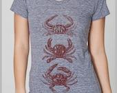 The Three Crabs Women's T Shirt / les Trois Crabes chemise des Femmes T American Apparel s, m. l, xl  8 Colors