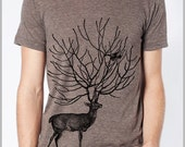 Deer and Bird Men's Tee T Shirt American Apparel Tshirt XS, S, M, L, XL 9 COLORS Gift for him