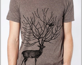 Men's Deer and Bird T Shirt Tee American Apparel Tshirt XS, S, M, L, XL 9 COLORS nature Gift for him