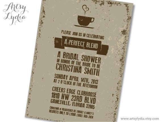 Perfect Blend Coffee Themed Bridal Shower Invitation Printable PDF