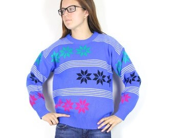 SALE Vintage Retro Bright Colored Snowflake Winter Holiday Sweater