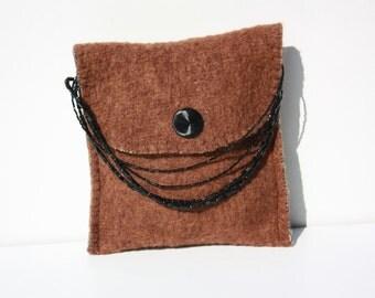 brown woolen little bag with beaded handle