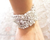 Crystal Bridal Bracelet, Bridal Cuff Bracelet, Bridal Beaded Bracelet, Bridal Rhinestone Bracelet, Bridal Jewelry