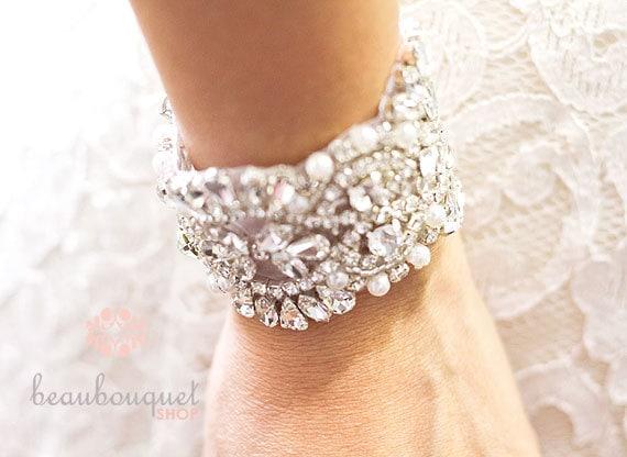 crystal bridal bracelet bridal cuff bracelet bridal beaded