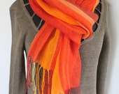 Linen Shawl Scarf Yellow Orange Red Burgundy Striped Green Salad