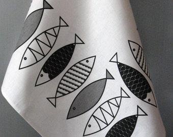 Linen Cotton Dish Towels Fish Black White - Tea Towels set of 2