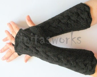 Fingerless Gloves Mittens black Arm Warmers Acrylic