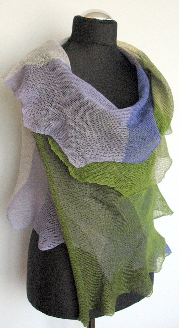 Linen Scarf Shawl Wrap Green Moss Blue Purple Violet Gray Striped Stole Light