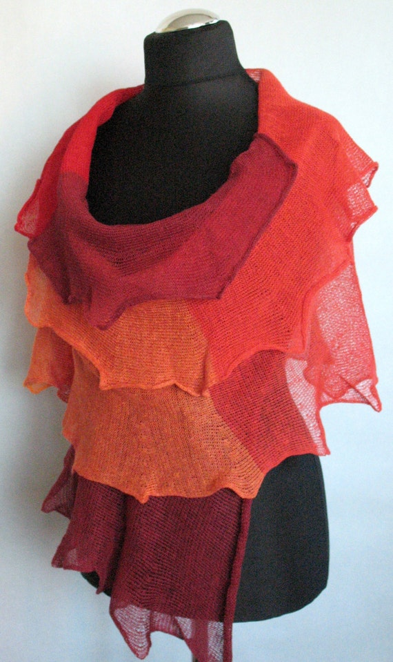 Linen Scarf Shawl Wrap Burgundy Red Orange Striped Stole Light