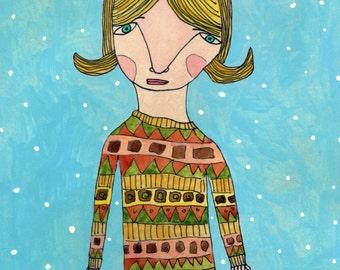 Sweater Girl - Original Art on Wood (4 x 6)