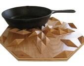 Oak wood decor, table centerpiece. Wooden wall art, hot pad. Woodwork trivet