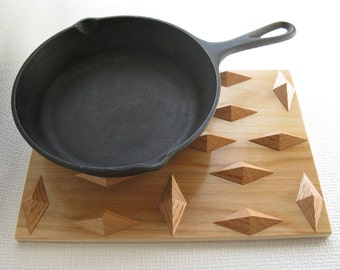 Wood Pot Holder. Red oak wooden trivet, hot pan pad. Woodwork trivet