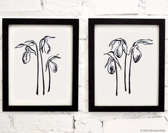 Pair of Forest Flower Print - Black Botanical Prints