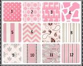 "Two 50"" Wide Rod Pocket CURTAINS Baby Pink Bella Cozy Cotton Twill Drapery Panels Dot Giraffe Stretch Zig Zag Chevron Stripe Various Lengths"
