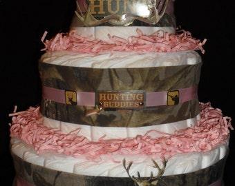 Pink Hunting Camo Theme Diapercake