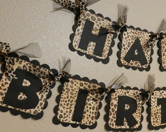 Leopard Birthday Banner Cheetah