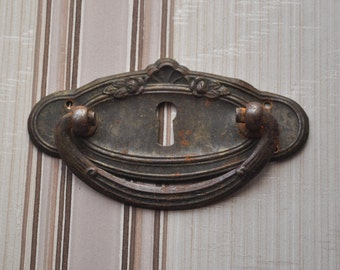 Vintage metal key hole plate,escutcheon.
