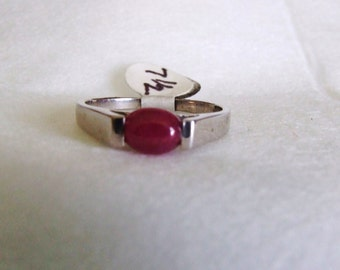 Sterling silver and Natural Ruby Oval Cabochon Modish Ring, Sleek, simple design July Birthday Birthstone