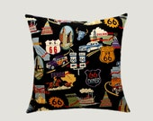 "Decorative Pillow case, Black Cotton with colored patterns Route 66 motive Throw pillow case, fits 18""x 18"" insert, Cushion case."