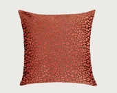 "Decorative Pillow case, Brown-Orange fabric, Throw pillow case with pattern, fits 18"" x 18"" insert, Toss pillow case, Cushion case."