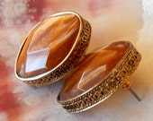 Vintage Earrings Faux Copper and Gold Post Oval
