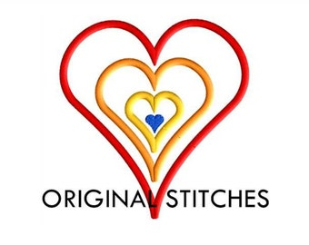 Rainbow Heart Applique and Machine Embroidery Design File 4x4 5x7 6x10
