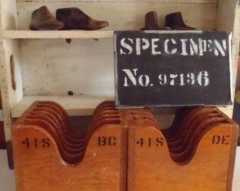 Vintage Cobbler Shoe Stencil Factory Boxes